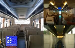 Interior Bus pariwisata gege yogyakarta terbaru 2012 terbaik terbesar jet evobus wisata jakarta surabaya malang bandung banjarmasin batam riau balikpapan manado objek tour travel armada terbersih bali ngurahrai juanda adisucipto