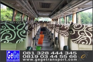 interior bus pariwisata mewah nyaman lapang gege transport yogya jogja terbaik terbaru surabaya solo