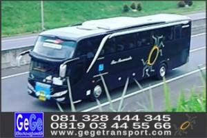 gege trans yogya bus pariwisata warna hitam elegan menarik nyaman